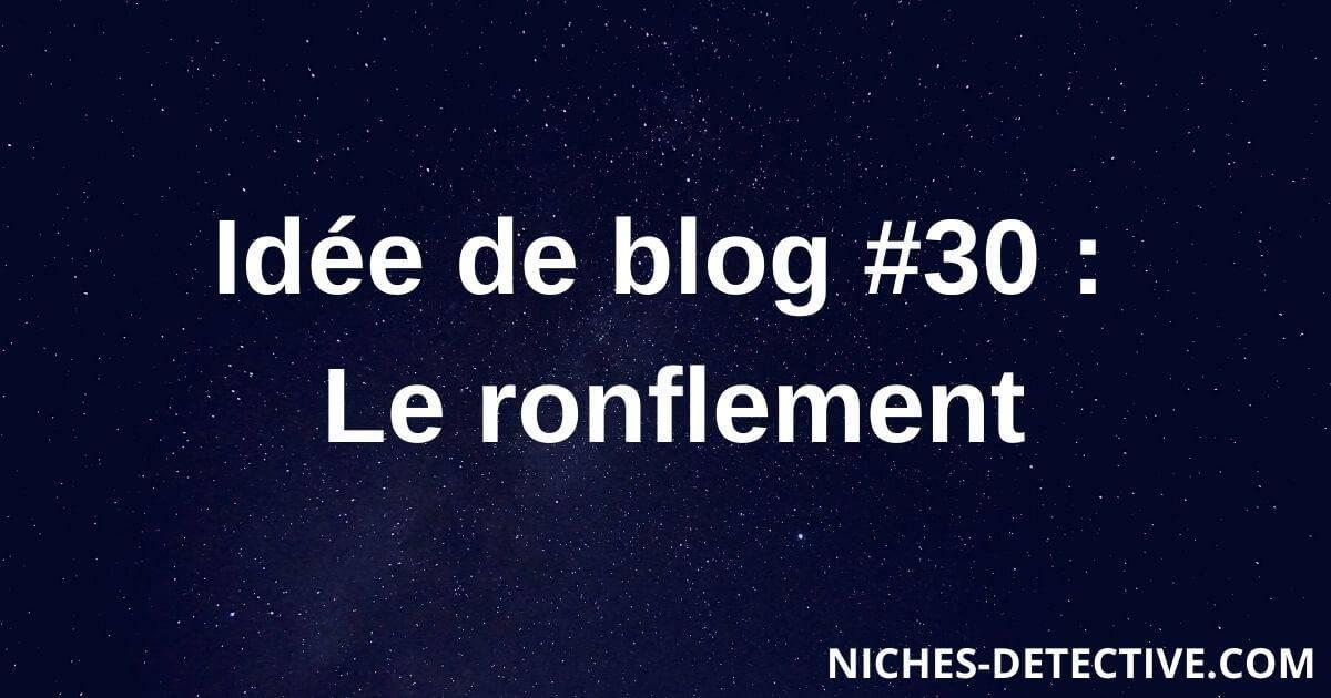 Idée de blog #30 : Le ronflement
